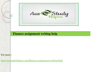 Finance assignment writing help | Ausstudyhelpers
