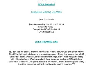 Louisville vs Villanova live streaming NCAA Basketball onlin