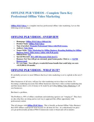 Offline PLR Videos  review demo & BIG bonuses pack