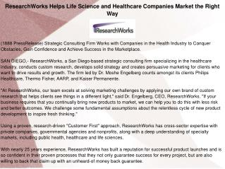 ResearchWorks Helps Life Science and Healthcare Companies Market the Right Way