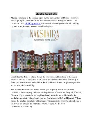 Mantra Nakshatra Iconic Project by Mantra Properties and Majestique Landmarks