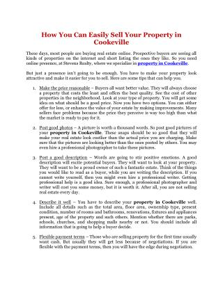 How You Can Easily Sell Your Property in Cookeville