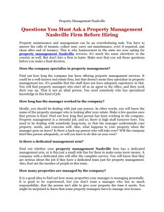 Questions You Must Ask a Property Management Nashville Firm Before Hiring
