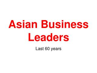 Asian Business Leaders