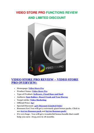 Video Store Pro  Review-$9700 Bonus & 80% Discount