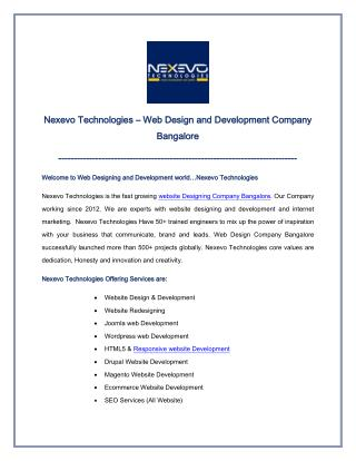 Web Design and Development Company Bangalore
