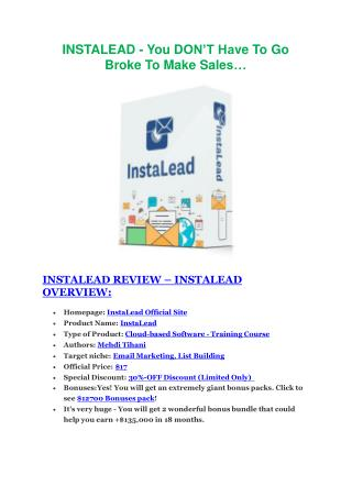 InstaLead  review - InstaLead   100 bonus items