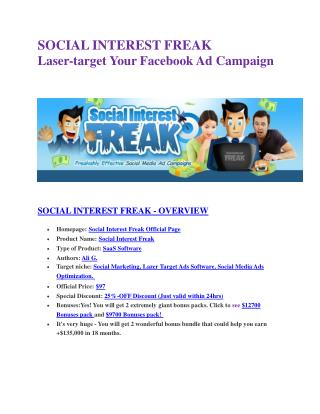 Social Insterest Freak  review & SECRETS bonus of Social Insterest Freak
