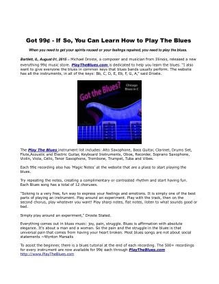 Got 99¢ - If So, You Can Learn How to Play The Blues