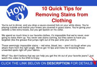 10 Quick Tips for Removing Stains from Clothing | Strain Remover