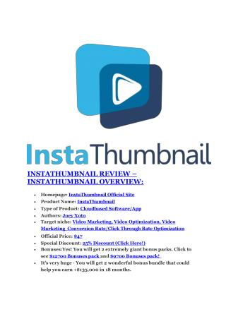 InstaThumbnail review and (FREE) $12,700 bonus-InstaThumbnail Discount