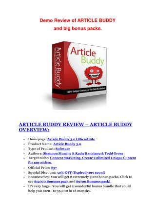 Article Buddy 3.0 Review-$24,700 BONUS & DISCOUNT