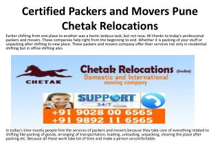 Certified Packers and Movers Pune Chetak Relocations