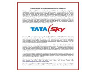 Get New Connection Tata Sky HD Plans And Prices, Package