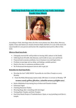 Kaal Sarp Dosh Puja and Nivaran by top Vedic Astrologer Pandit Vijay Bharti