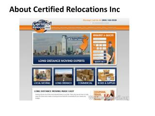 About us certified relocations inc