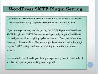 WordPress SMTP Plugin Setting