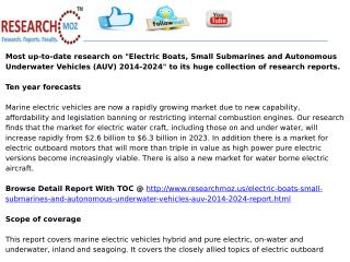 Electric Boats, Small Submarines and Autonomous Underwater Vehicles (AUV) 2014-2024