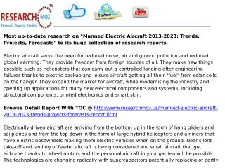 Manned Electric Aircraft 2013-2023: Trends, Projects, Forecasts