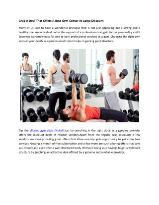Grab A Deal That Offers A Best Gym Center At Large Discount