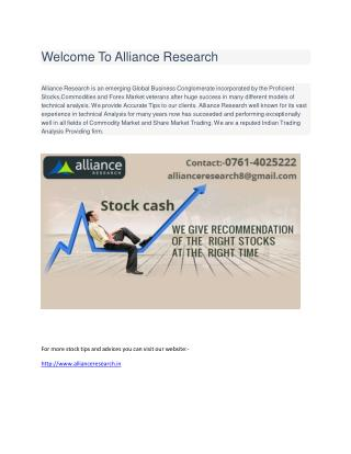 Welcome to Alliance Research