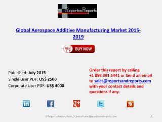 Aerospace Additive Manufacturing Market 2015 – 2019: Worldwide Forecasts and Analysis