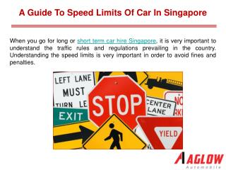 A guide to speed limits of car in Singapore