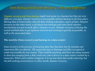 Data Backup and Disaster Recovery - The Basic Difference