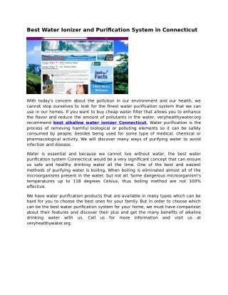 Alkaline Water Ionizer Tolland