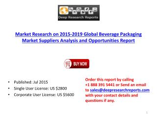 Beverage Packaging Global Market Research Analysis Report 2015-2019