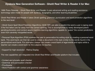 Dyslexia New Generation Software - Ghotit Real Writer & Reader 4 for Mac