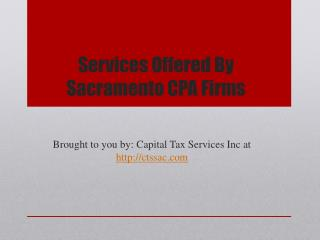 Services Offered By Sacramento CPA Firms