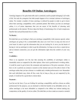 Benefits Of Online Astrologers