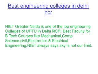 Best Engineering Colleges in Delhi NCR