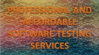 PROFESSIONAL AND AFFORDABLE SOFTWARE TESTING SERVICES