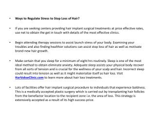 Ways to Regulate Stress to Stop Loss of Hair