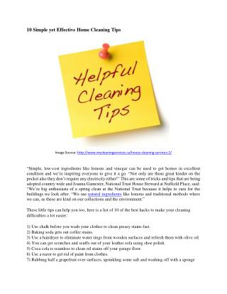 10 Effective Yet Simple Home Cleaning Tips