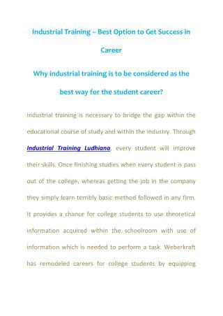 Weberkraft  Website Development Company Ludhiana, Industrial Training