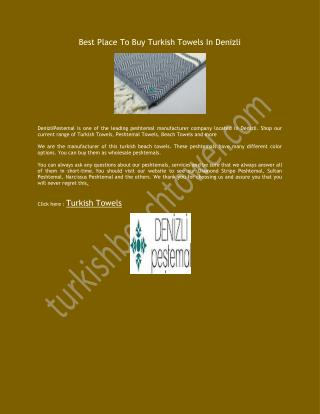 Best Place To Buy Turkish Towels In Denizli