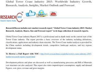 Global Tower Crane industry 2015 Recent Research Reports