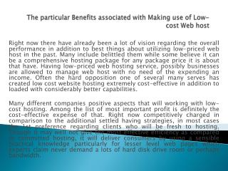 The particular Benefits associated with Making use of