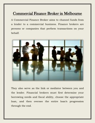 Commercial asset & capital finance brokers in Melbourne