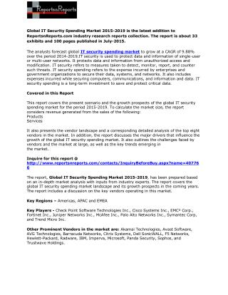 Global IT Security Spending Market 2015-2019