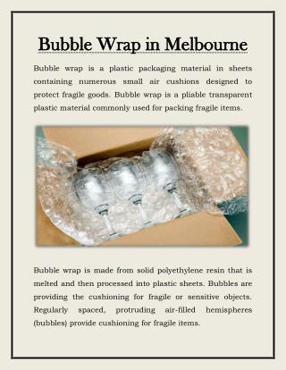 Bubble Wrap Melbourne