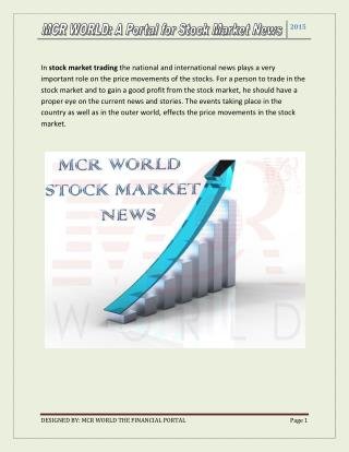 Mcr world a portal for stock market news