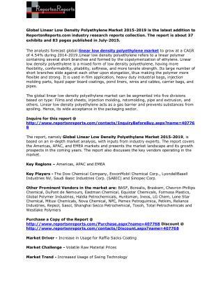 Global Linear Low Density Polyethylene Market 2015-2019