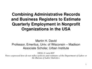 Combining Administrative Records and Business Registers to Estimate Quarterly Employment in Nonprofit Organizations in t