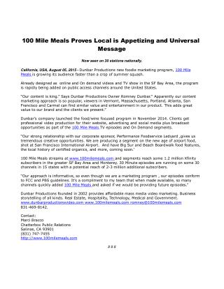 100 Mile Meals Proves Local is Appetizing and Universal Message