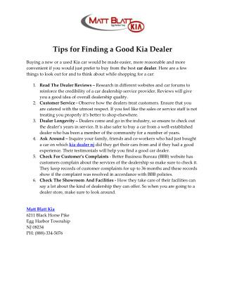 Tips for Finding a Good Kia Dealer