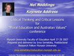 Budget for Moral Education and Australian Values Conference
